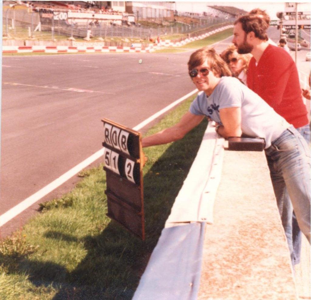 In the days before debris fencing got in the way – Steve Colbourne plus pit board