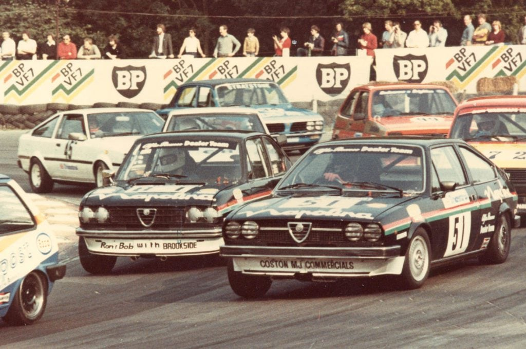 Rob Kirby (Alfasud Sprint) leads Jon Dooley (Sud Ti) briefly at Brands in 1981. Jon went on to win the Saloon Car Championship 1300 class that year