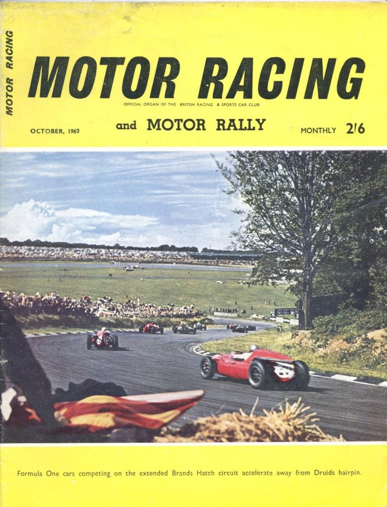 "Cover of ""Motor Racing"" magazine (October 1960) showing the view from Druids at the first meeting using the full GP track"