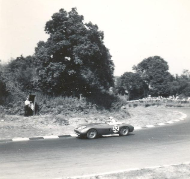 Roy Salvadori's Cooper-Maserati rounding the new Druids Hairpin in 1955