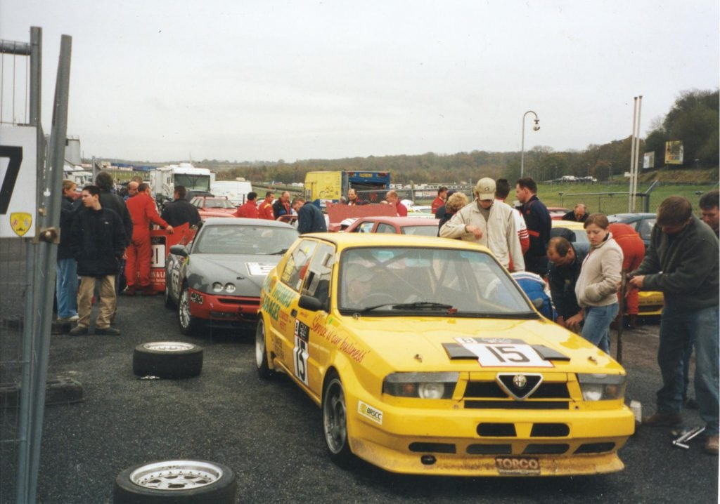 "Half way ""pit stop"" scene during our mini-endurance race in 2001"