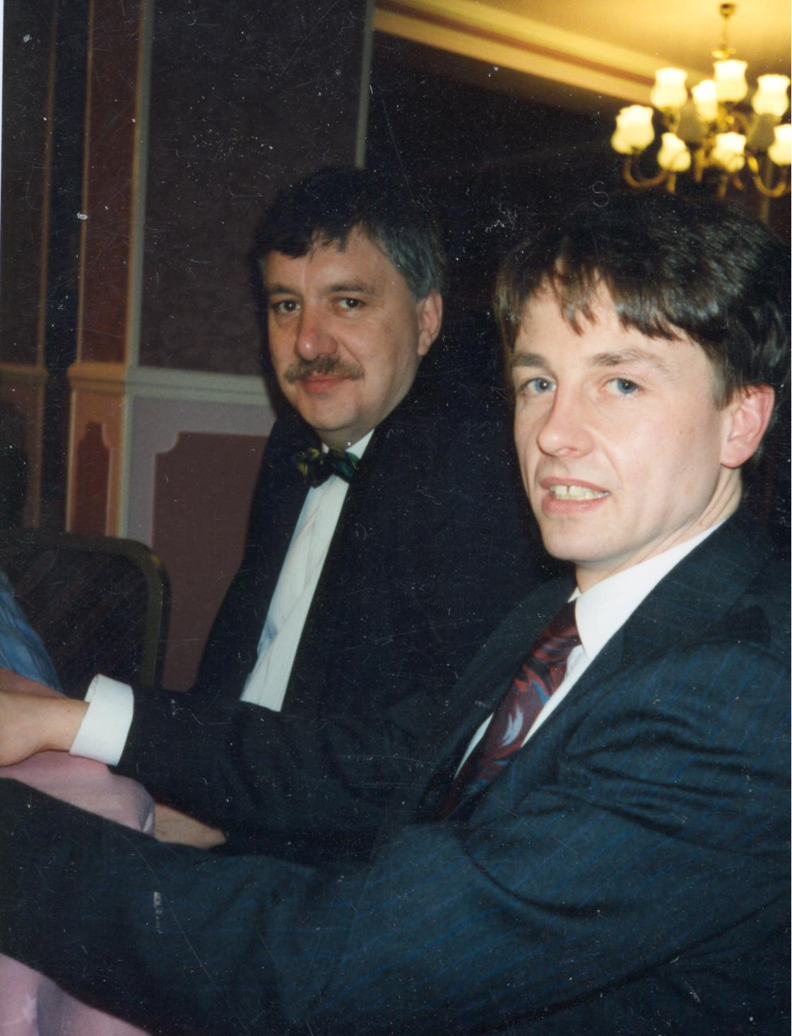 Bob Armstrong with current Channel 4 F1 commentator Ben Edwards at our awards dinner in 1993